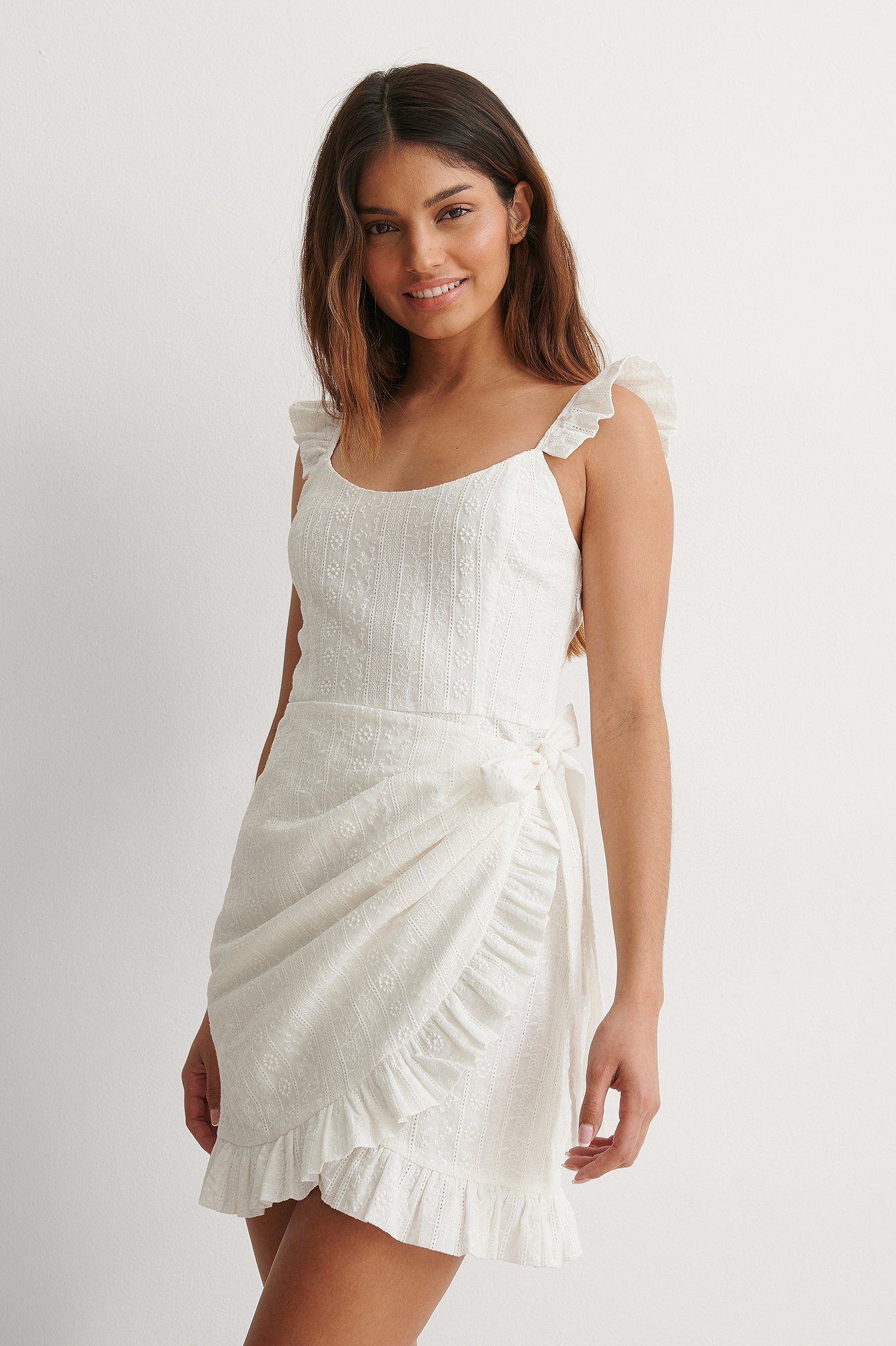 White Overlap Front Detail Dress