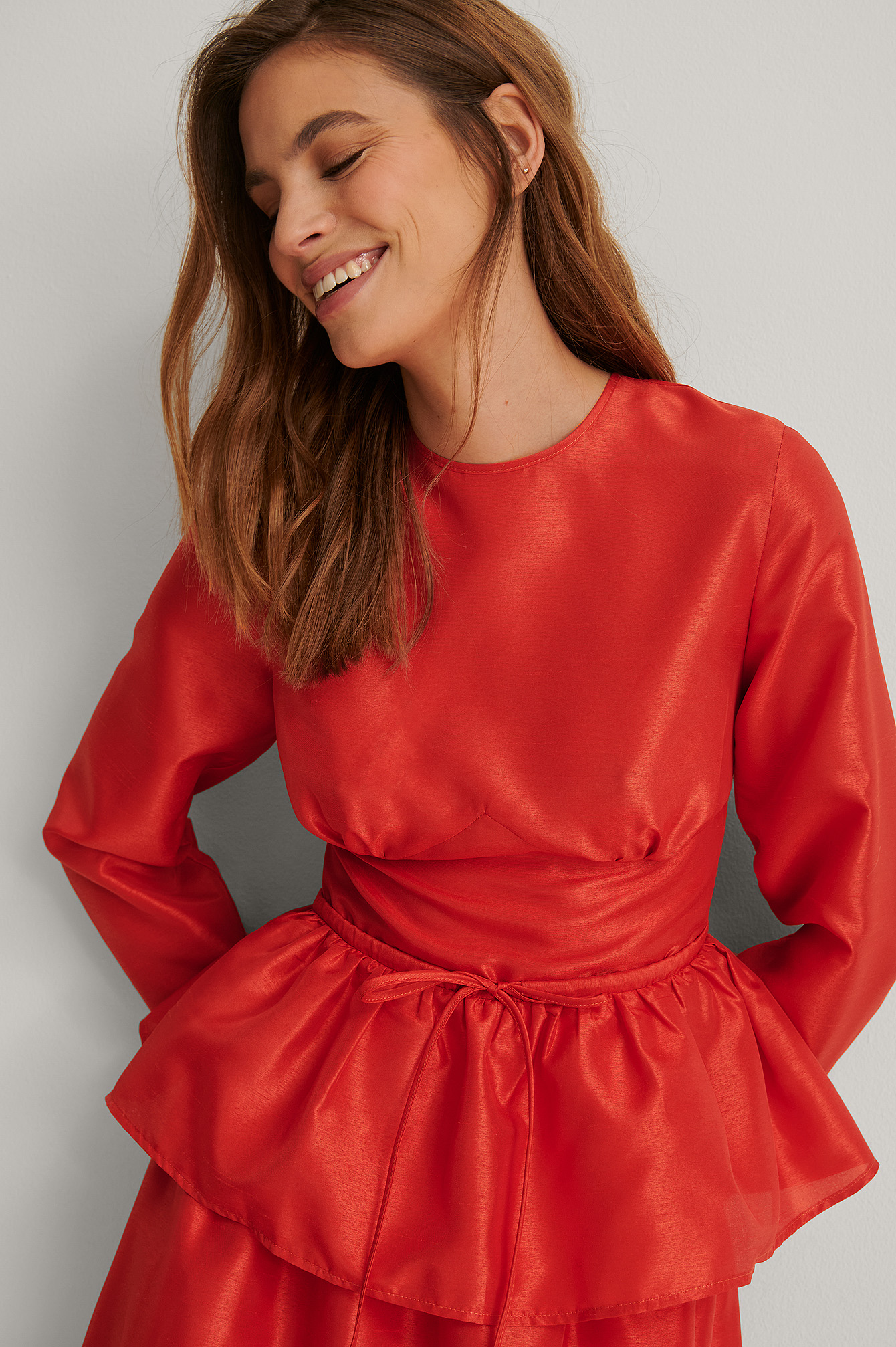 Bright Red Peplum Blouse