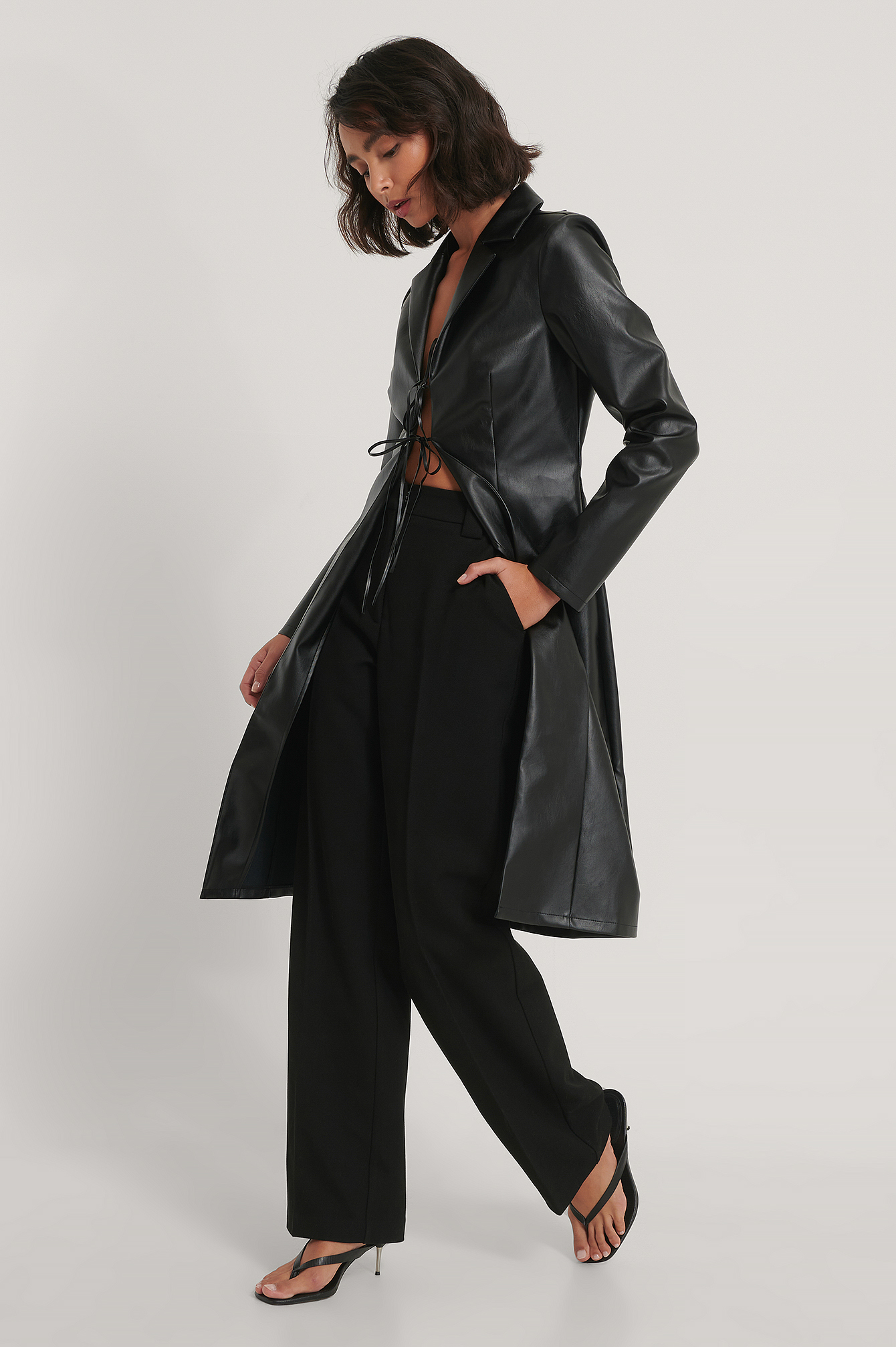 Black PU Back Detail Long Shirt