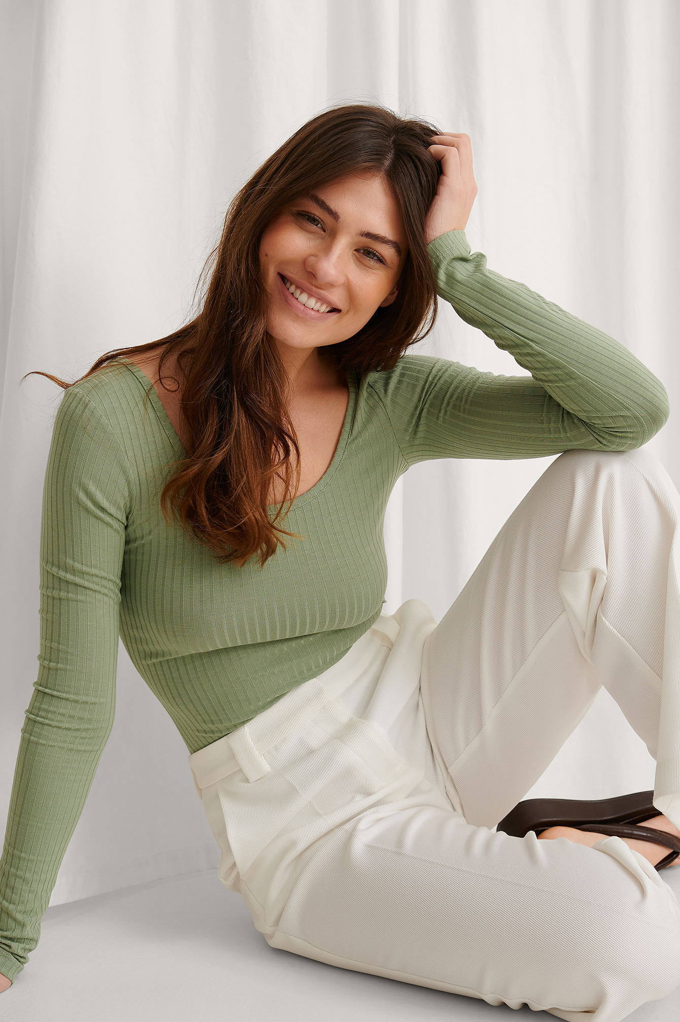 Khaki Recycled Deep Round Neck Rib Top