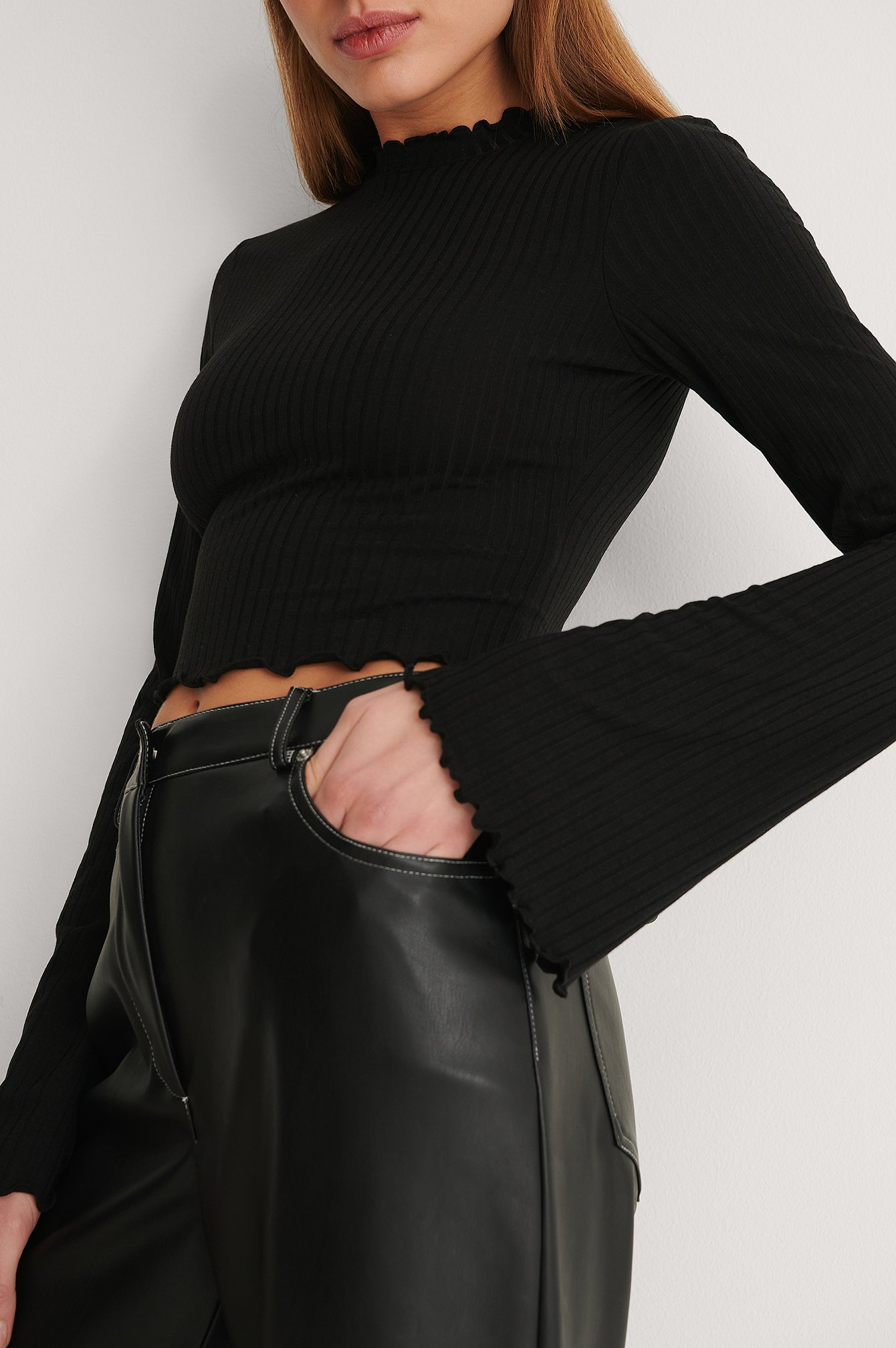 Black Recycled Ribbed Trumpet Sleeve Top