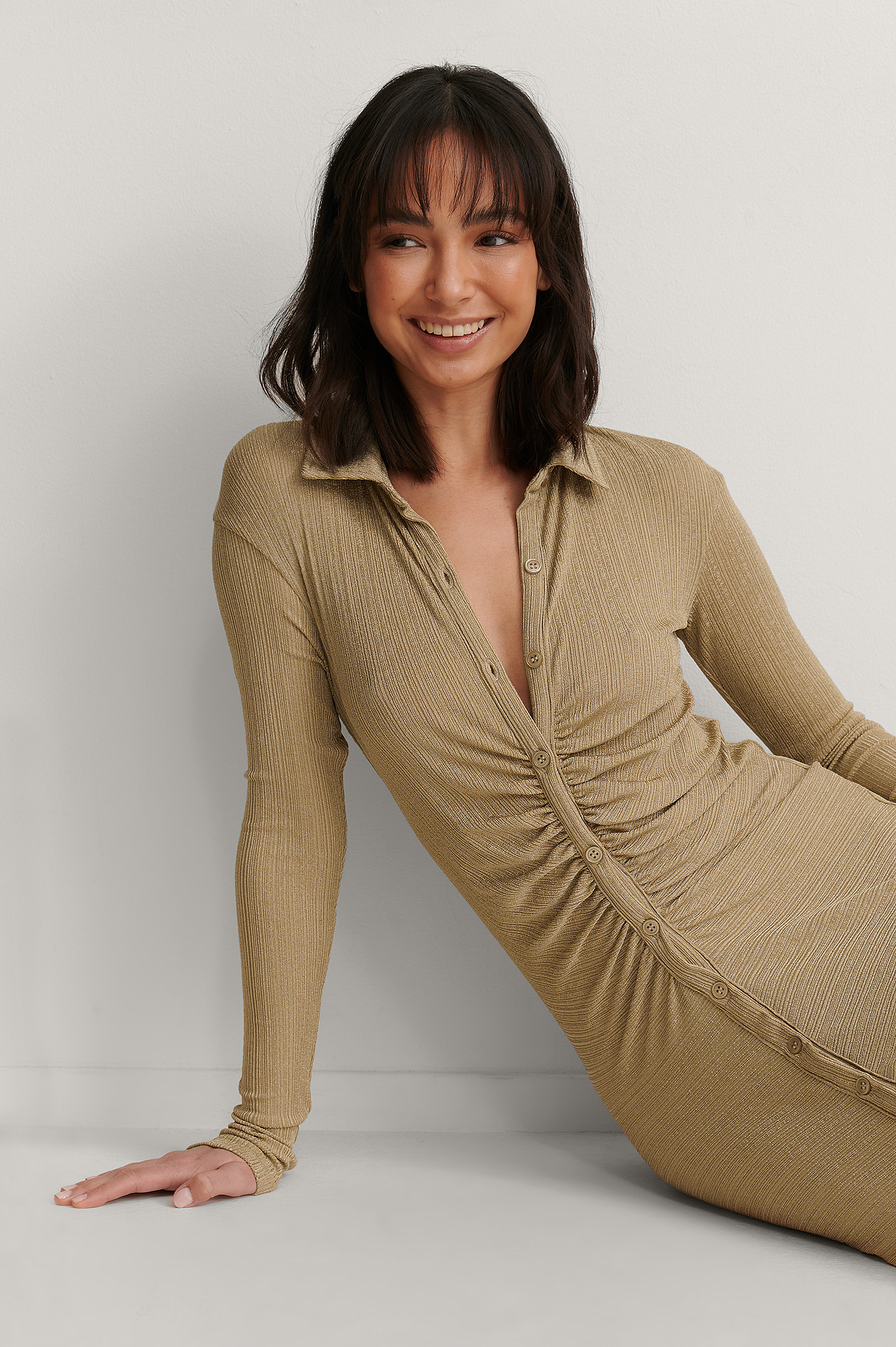 Beige Rouched Button Detail Dress