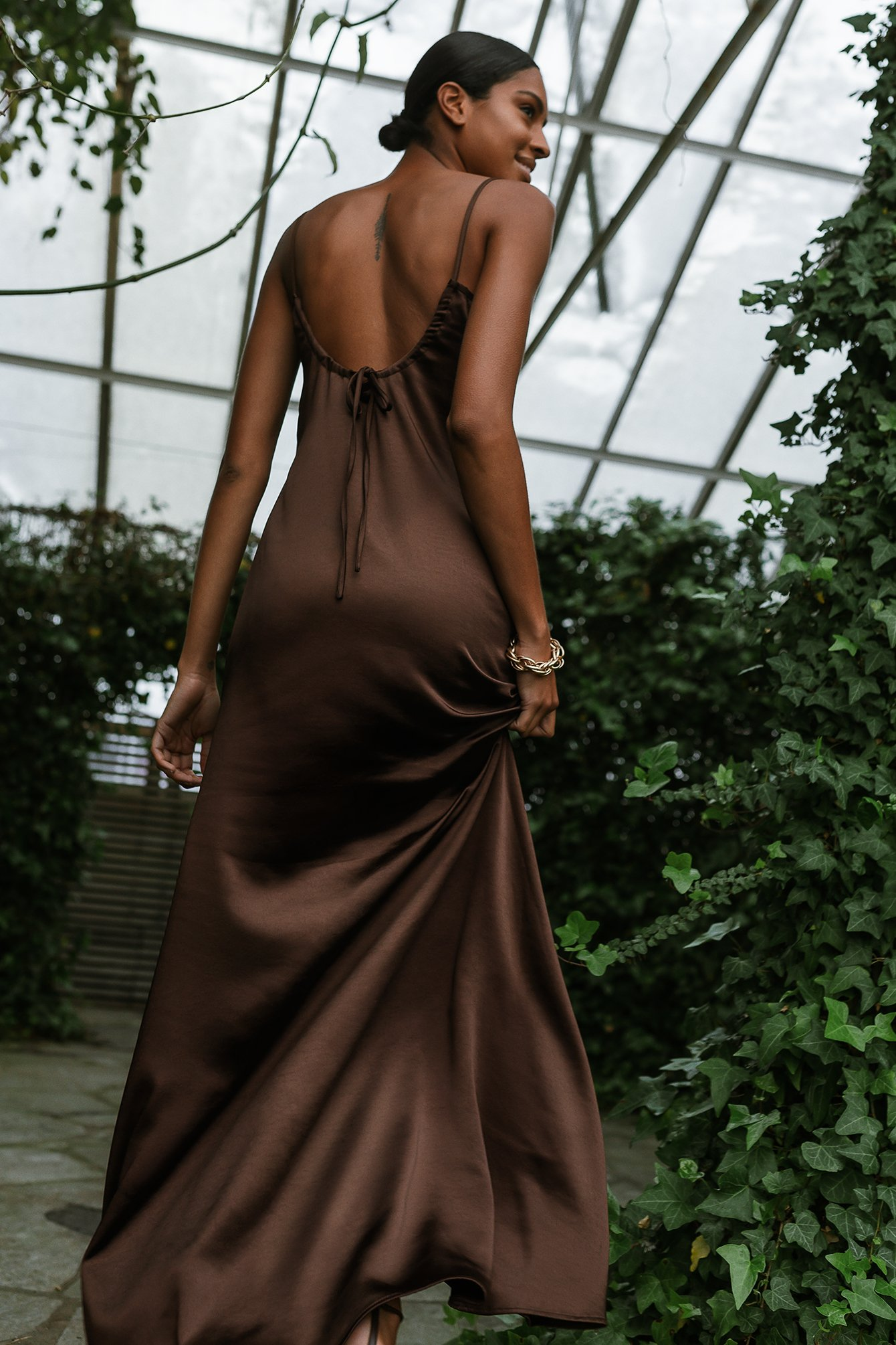 Brown Scoop Neckline Maxi Slip Dress