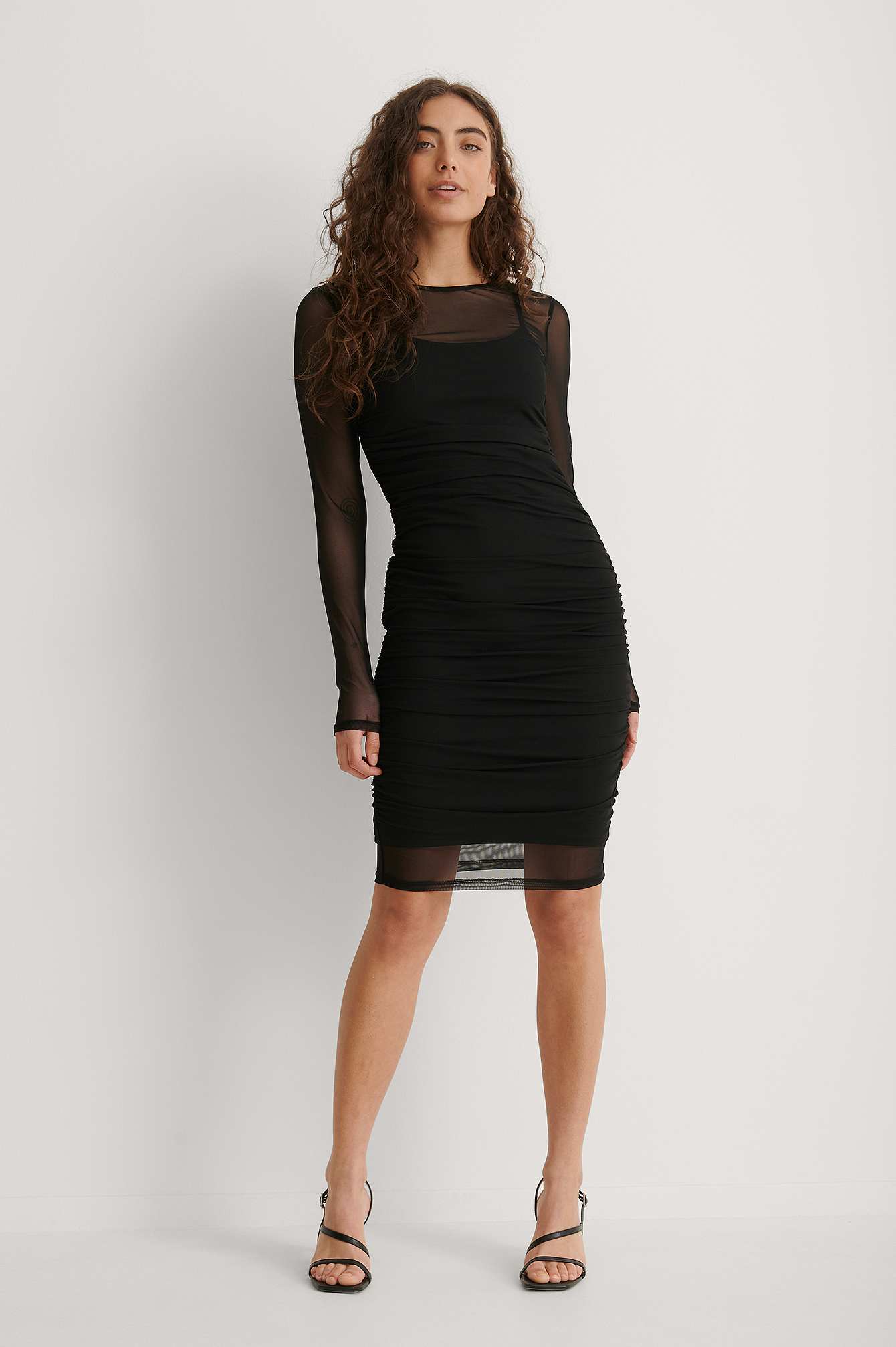 Black Sheer Rouched Mesh Dress