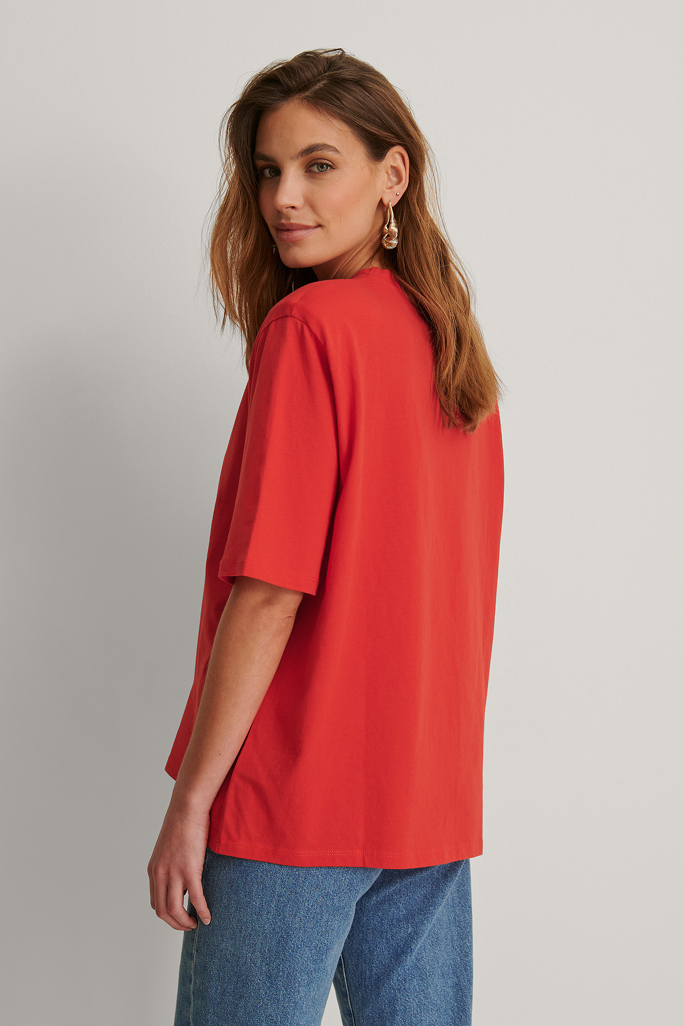 Bright Red Shoulder Pad Boxy Tee