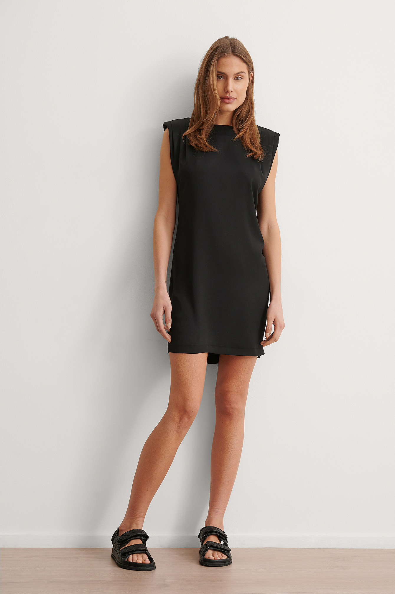 Black Shoulder Pad Mini Dress