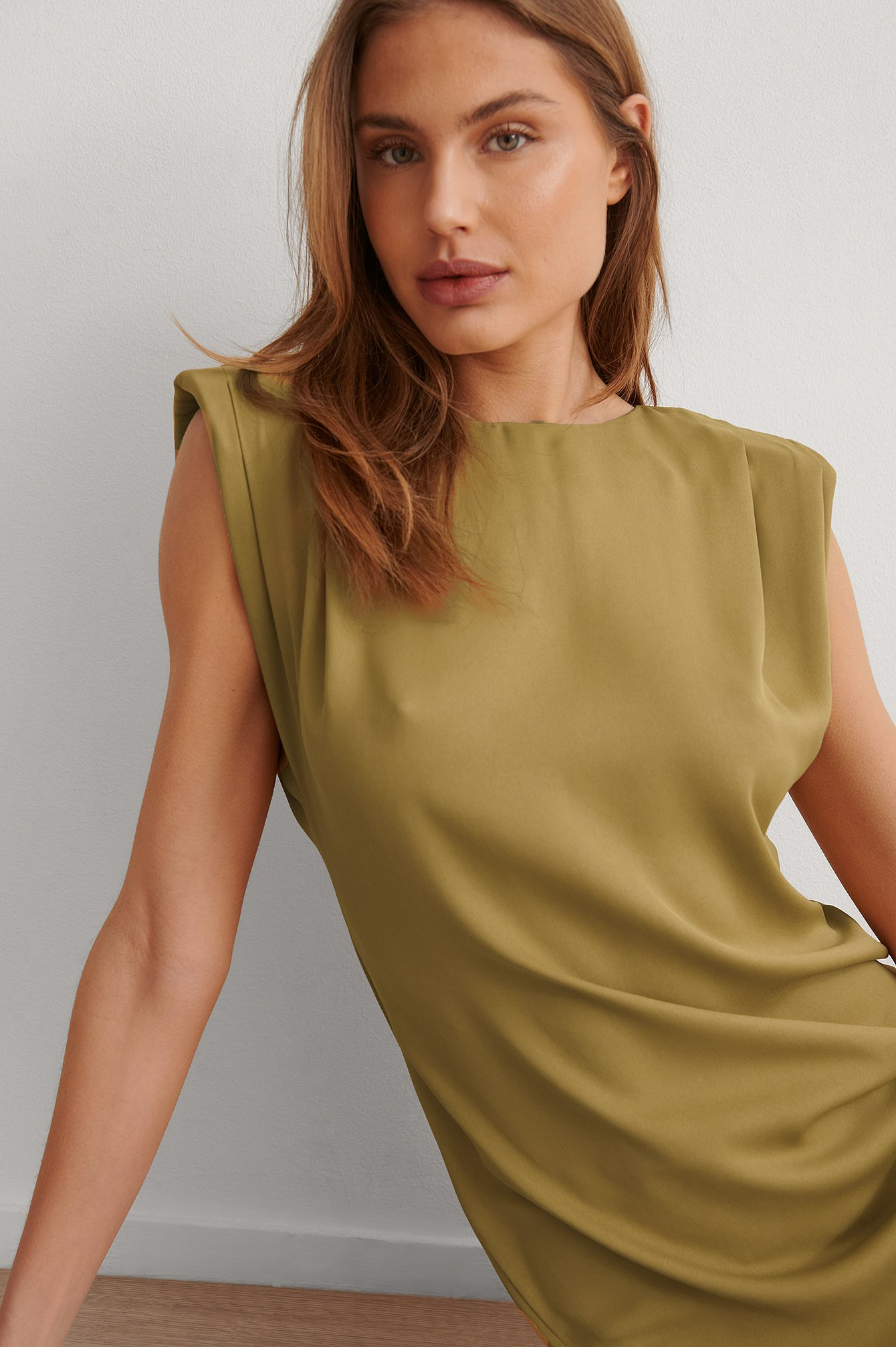 Green Shoulder Pad Mini Dress