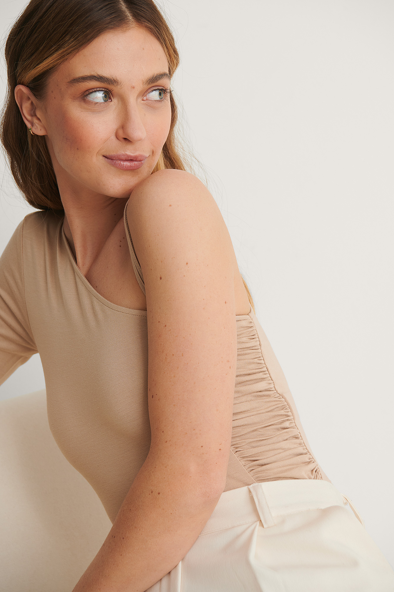 Taupe Beige Side Draped One Arm Top