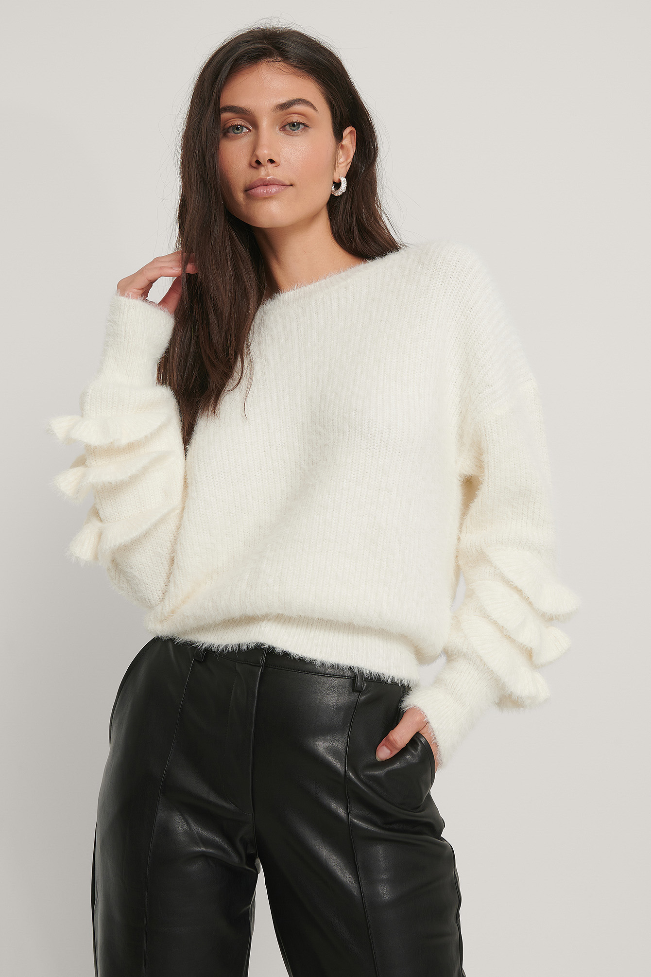 White Sleeve Detail Knitted Sweater