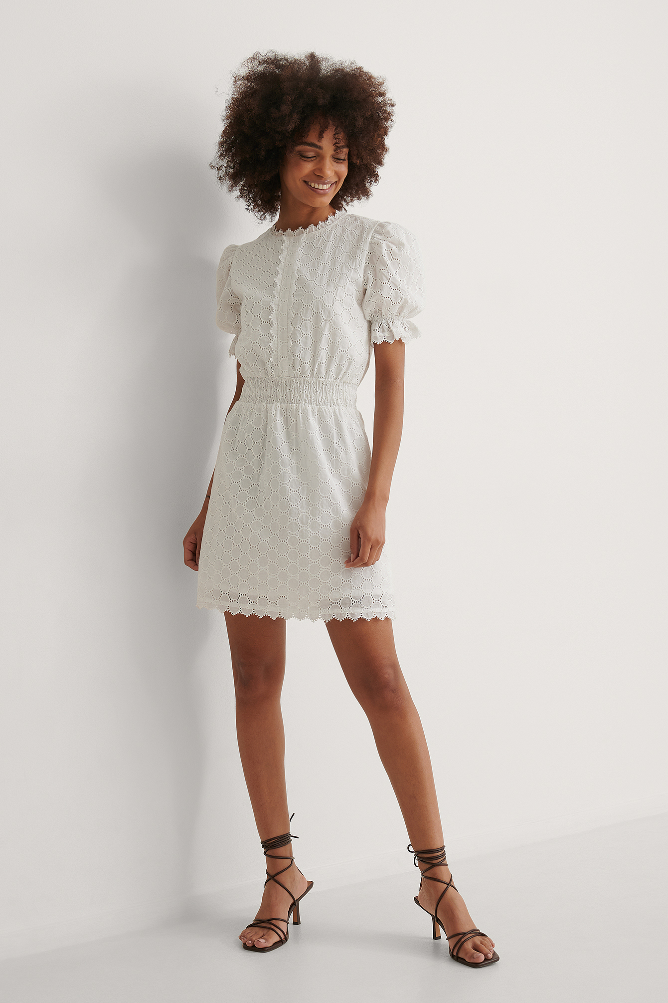 White Smock Detail Mini Dress