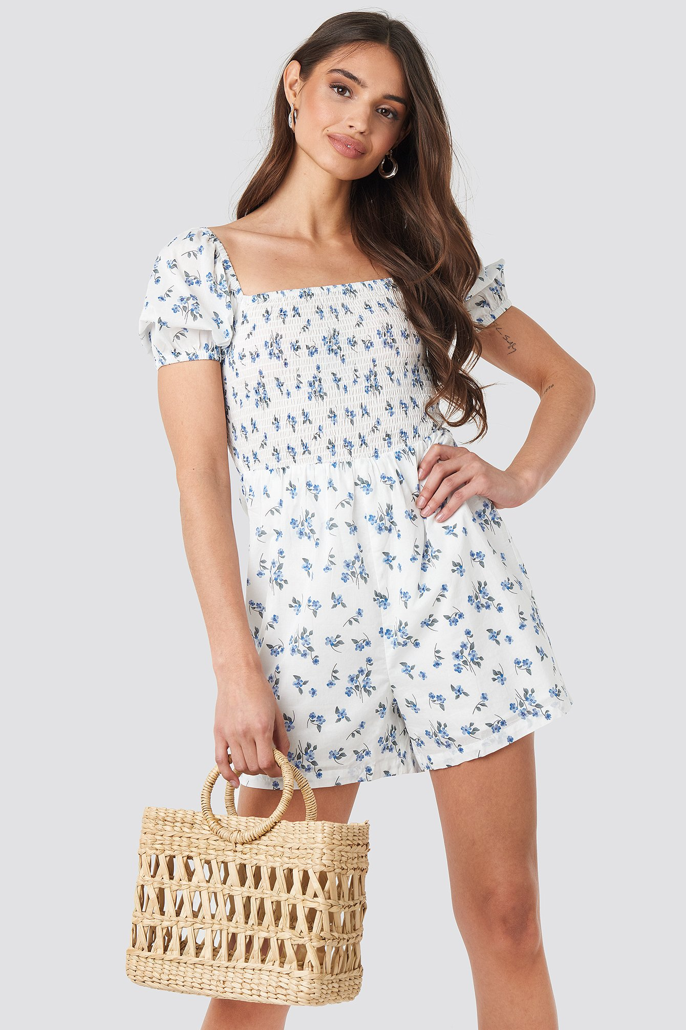 Blue Flower Square Neck Shirred Playsuit