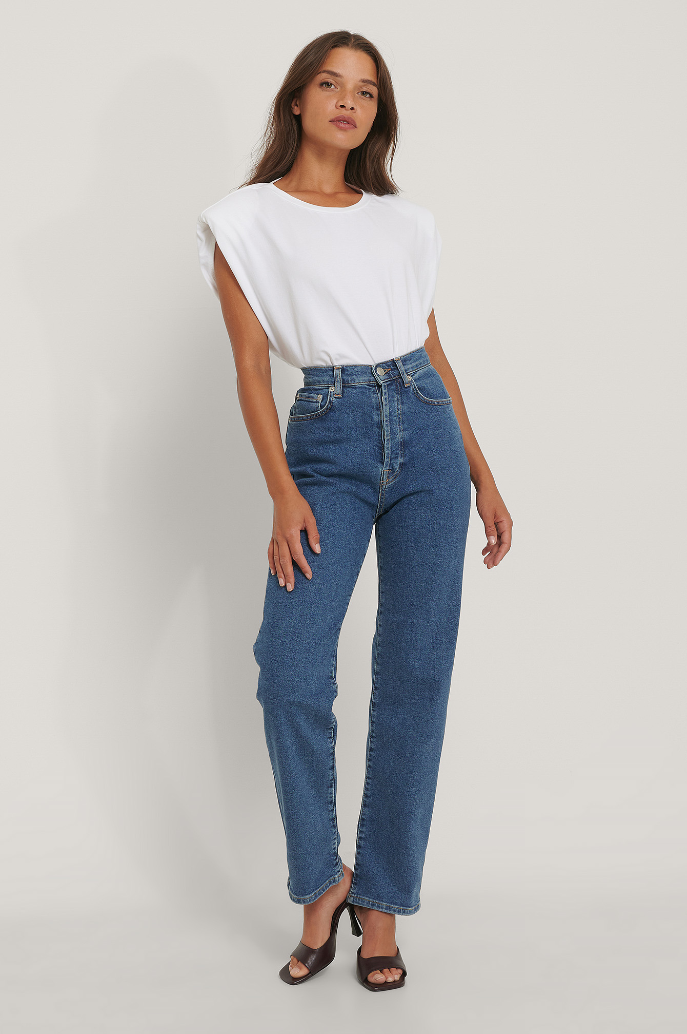 Blue Straight High Waist Jeans