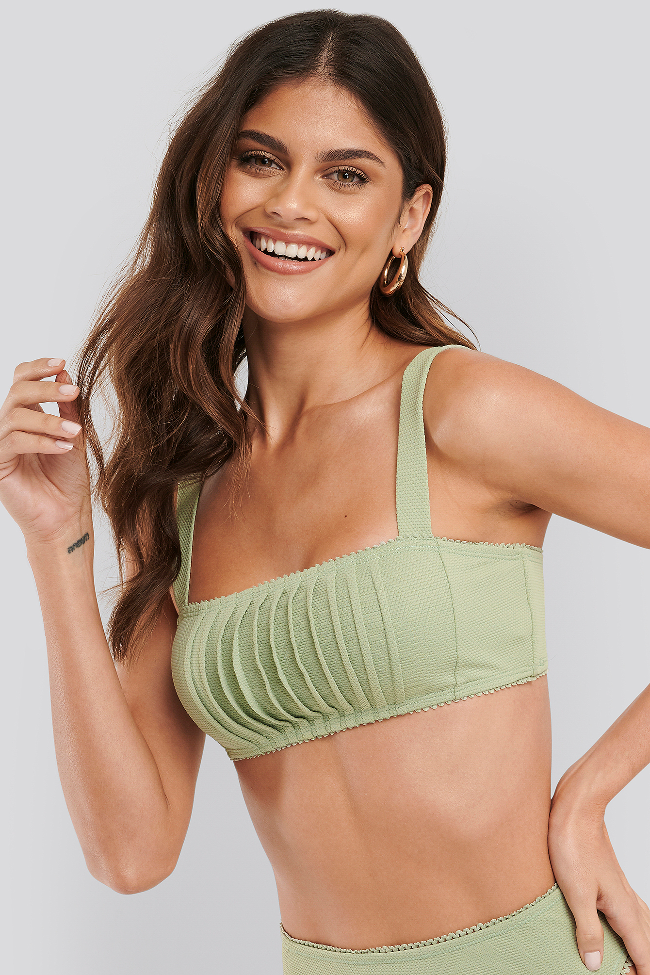 Dusty Green Structured Lace Edge Bikini Top