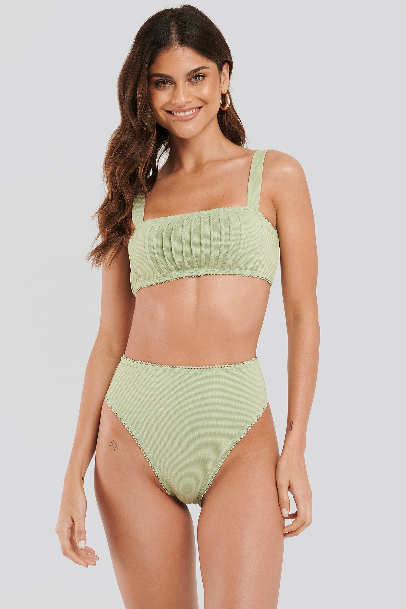 Dusty Green Structured Lace Edge High Waist Bikini Panty