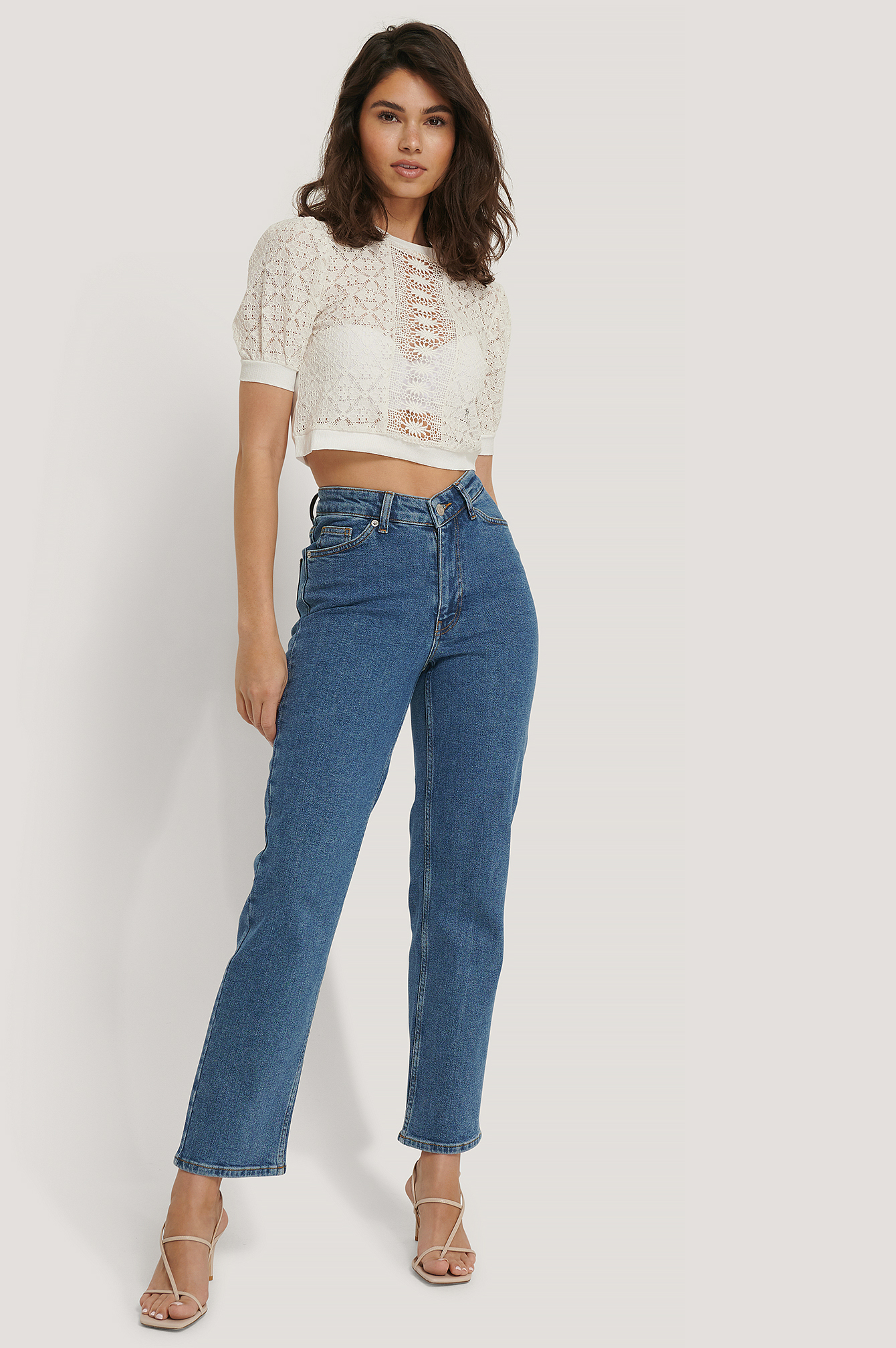Mid Blue V-shaped Waist Straight Denim