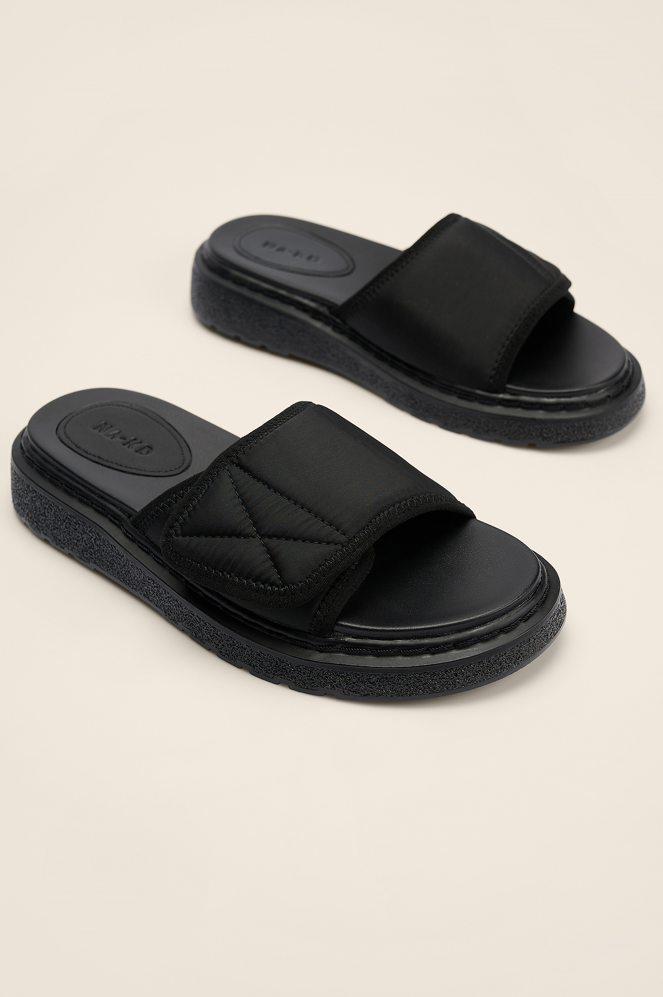 Black Velcro Slippers