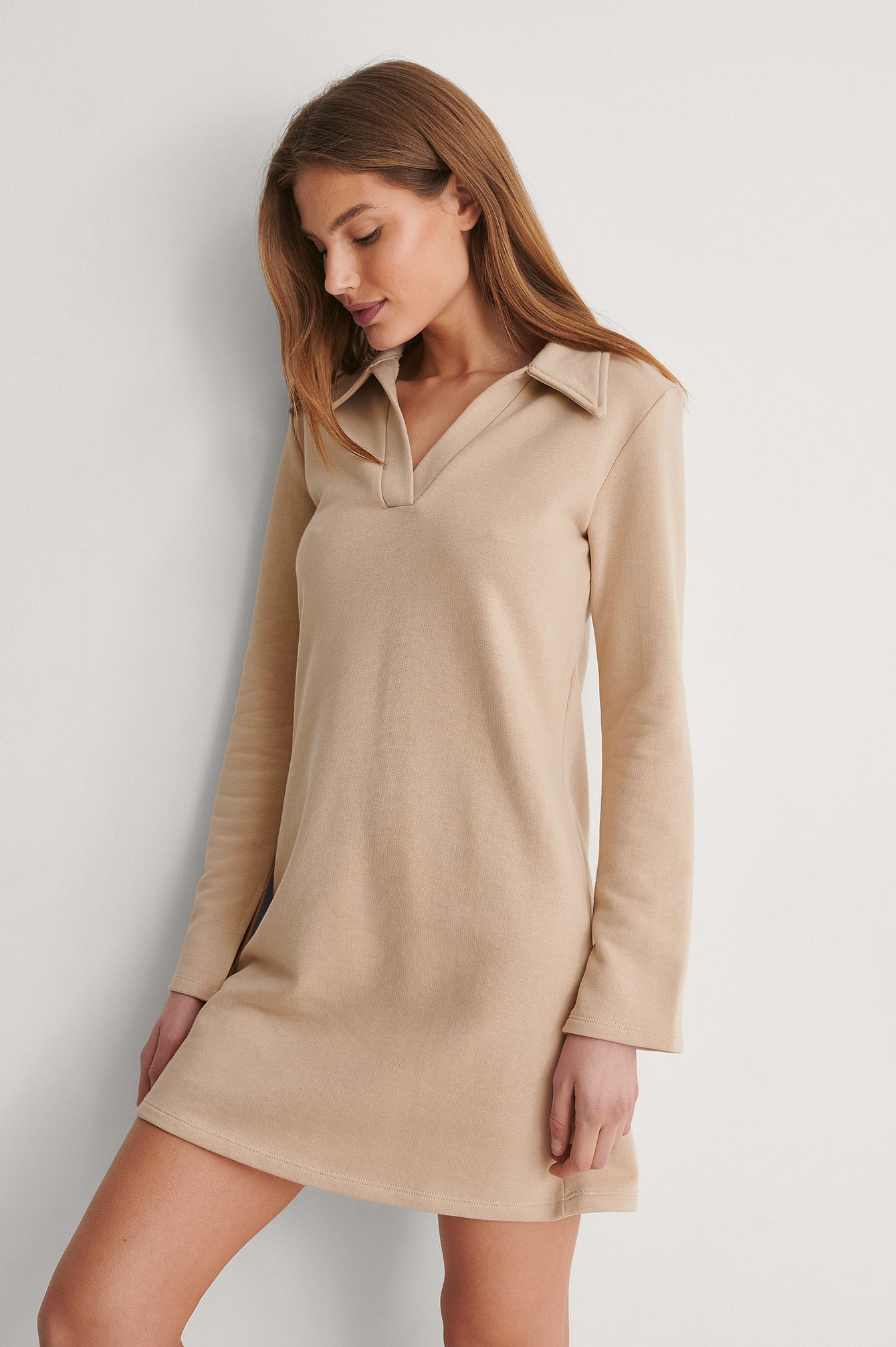 Beige V-Neck Collar Detail Dress