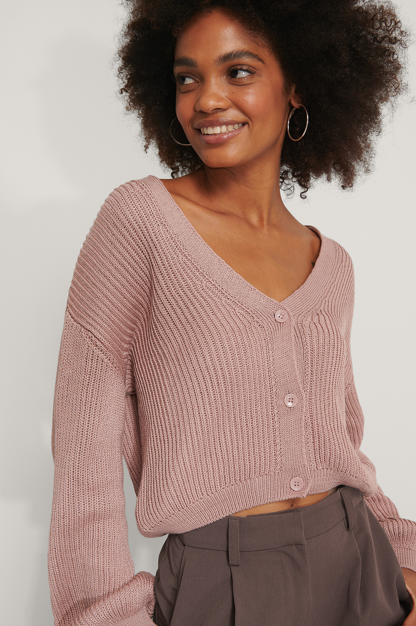 Dusty Pink Organic Volume Sleeve Buttoned Cardigan