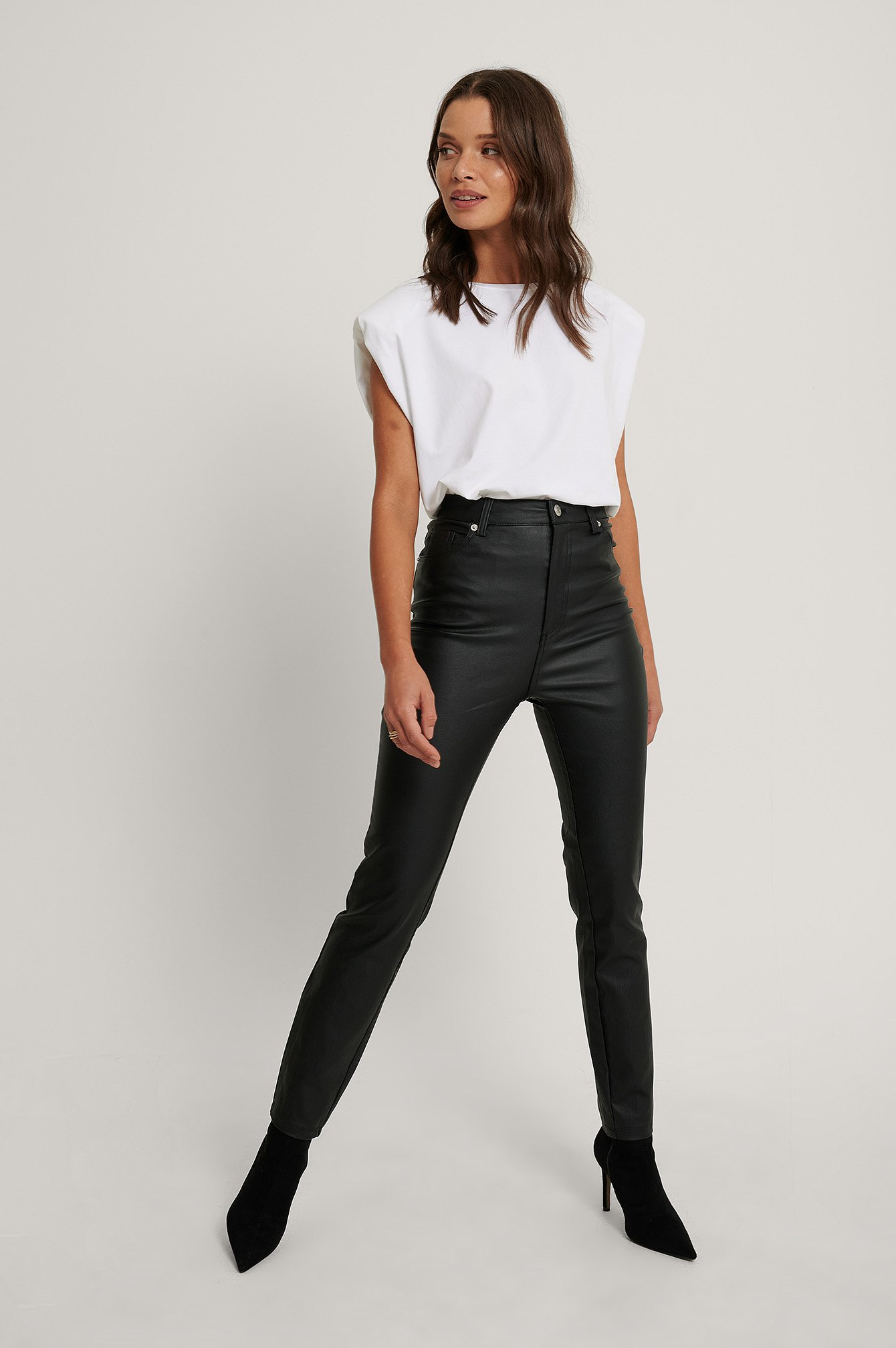 Black Waxed High Waist Trousers
