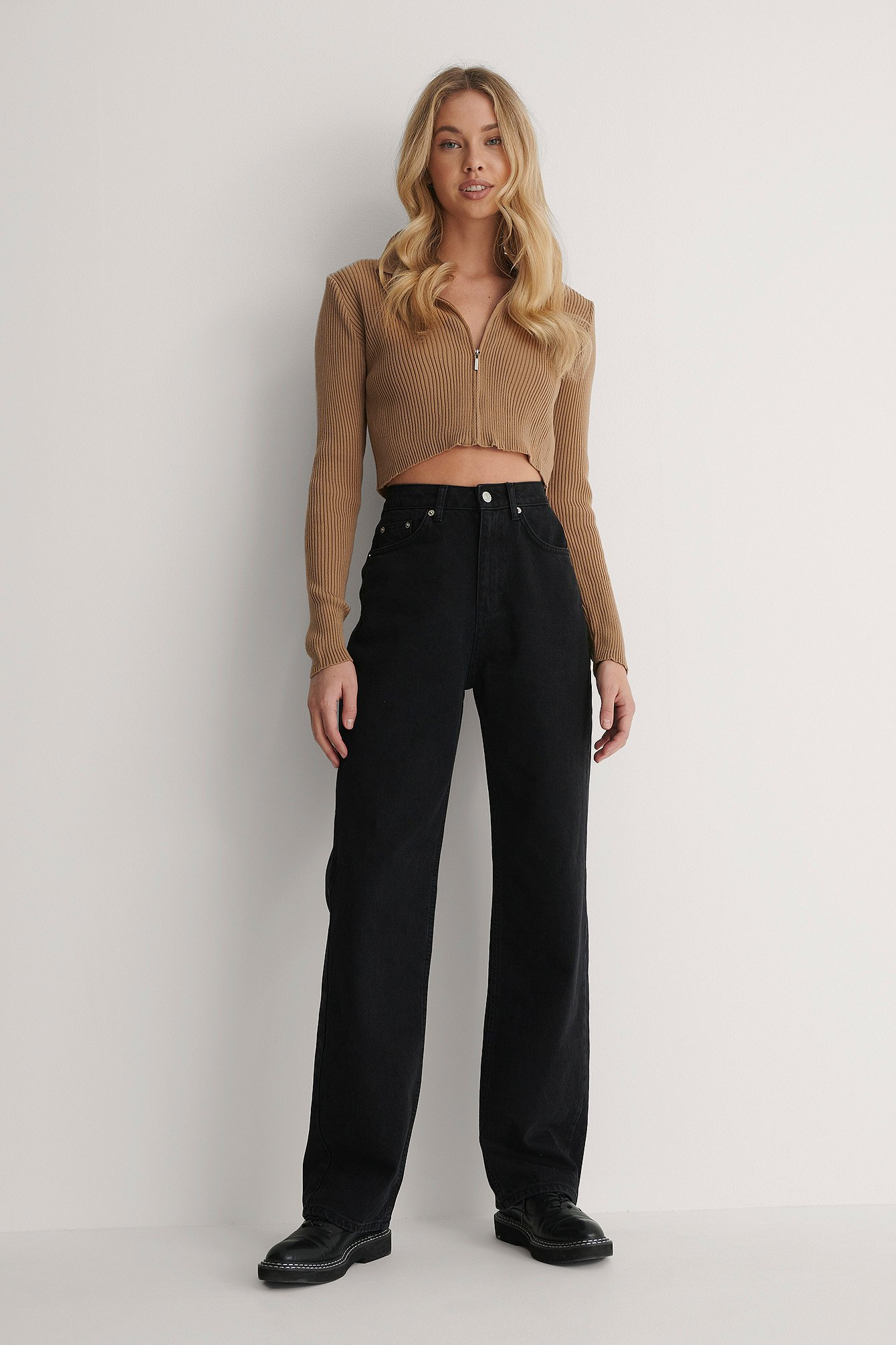 Black Wide Leg High Waisted Denim