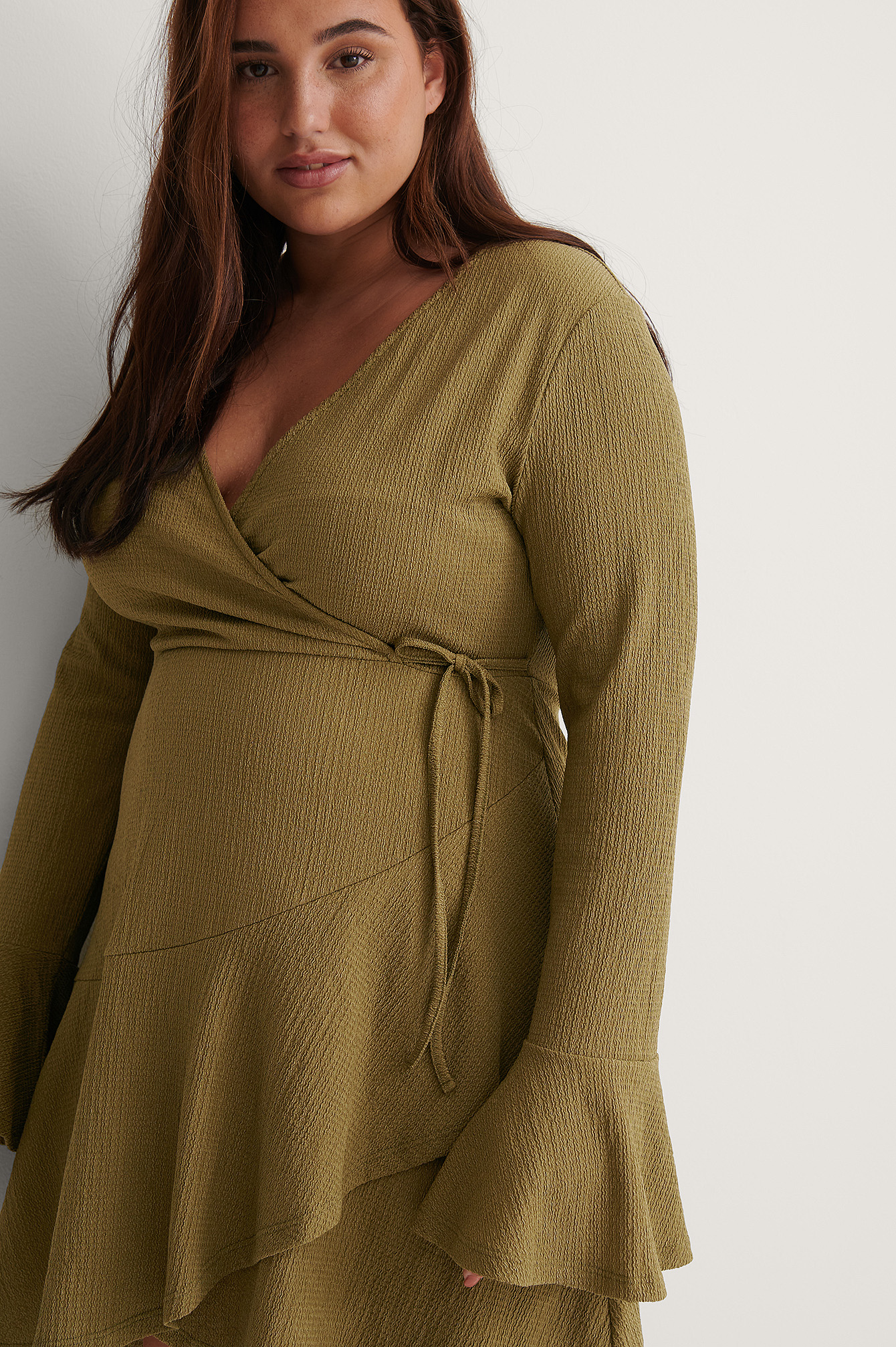 Green Recycled Wrap Flounce Detail Dress