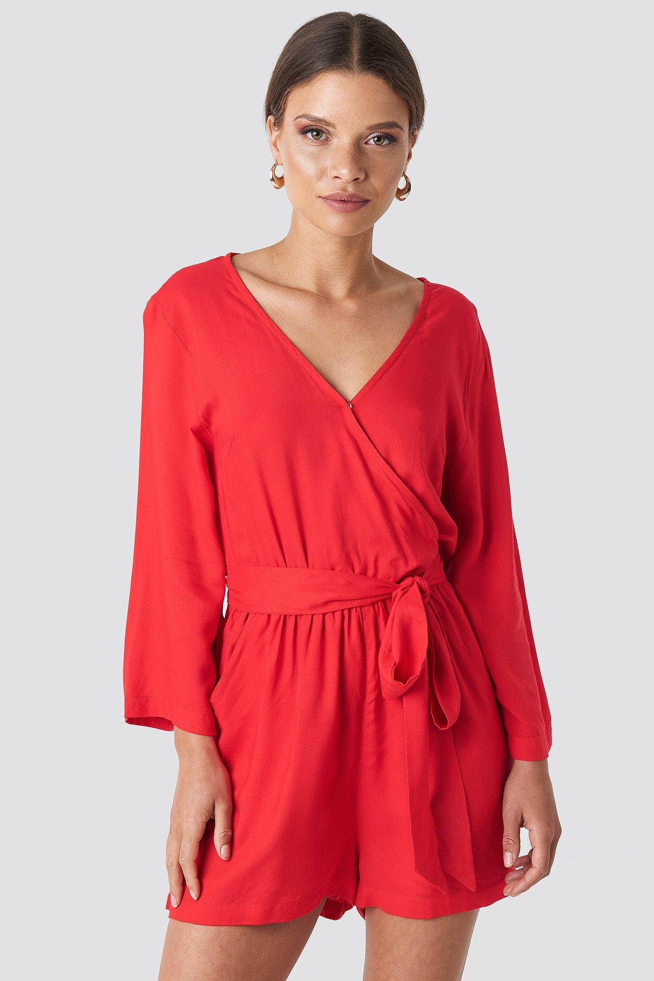 Red Wrap Playsuit
