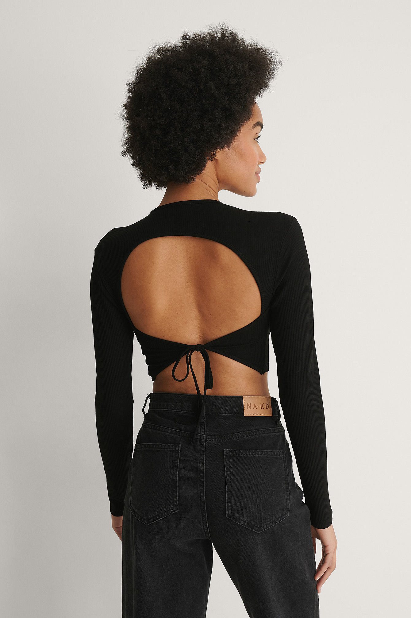 Black Ribbed Open Back Detail Top