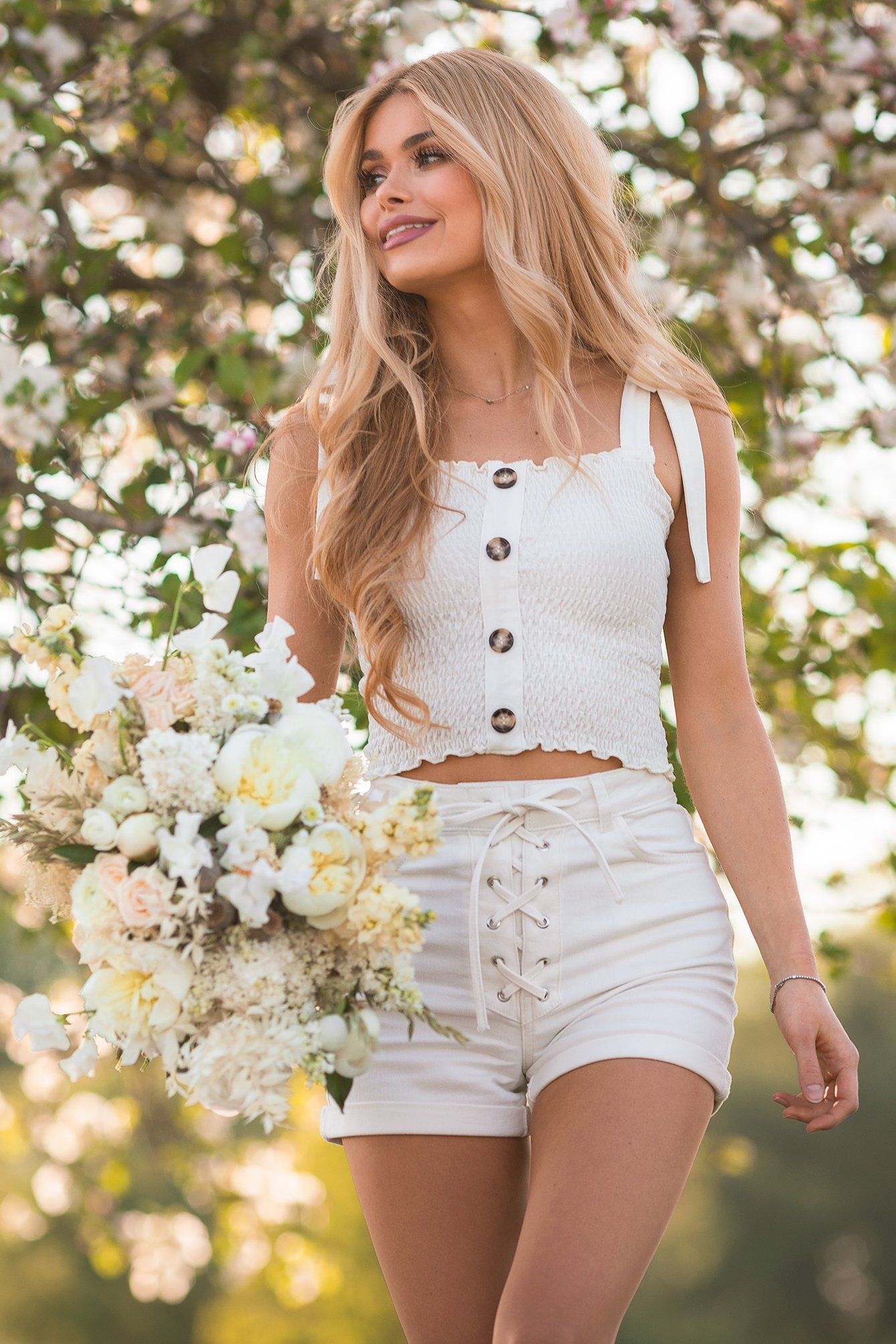 White Organic Tie Detail Denim Shorts