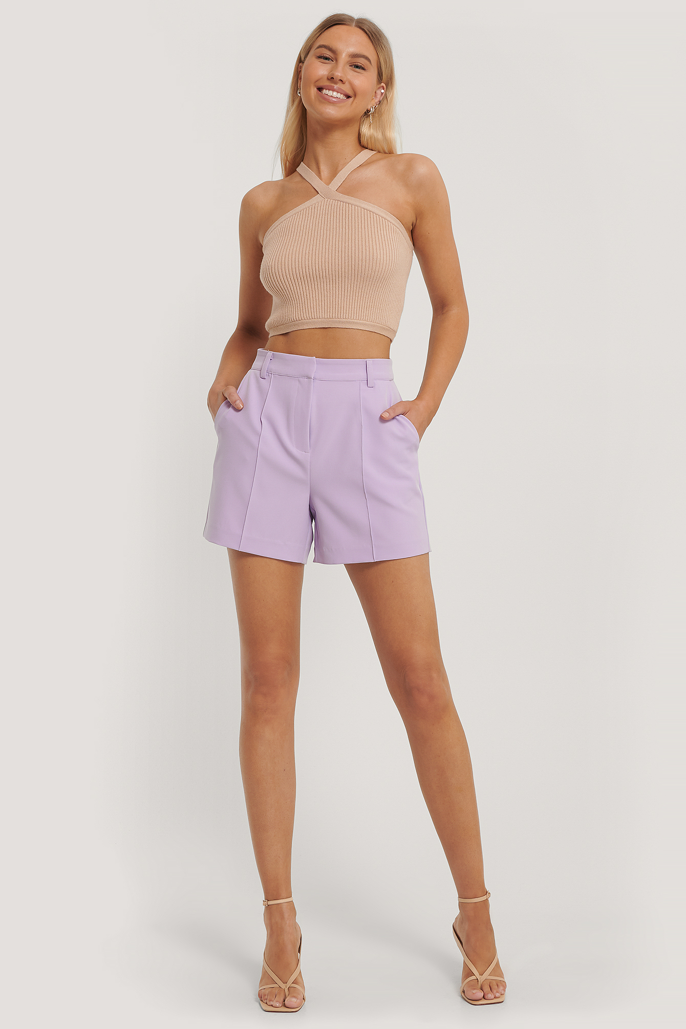 Lilac High Waisted Suit Shorts