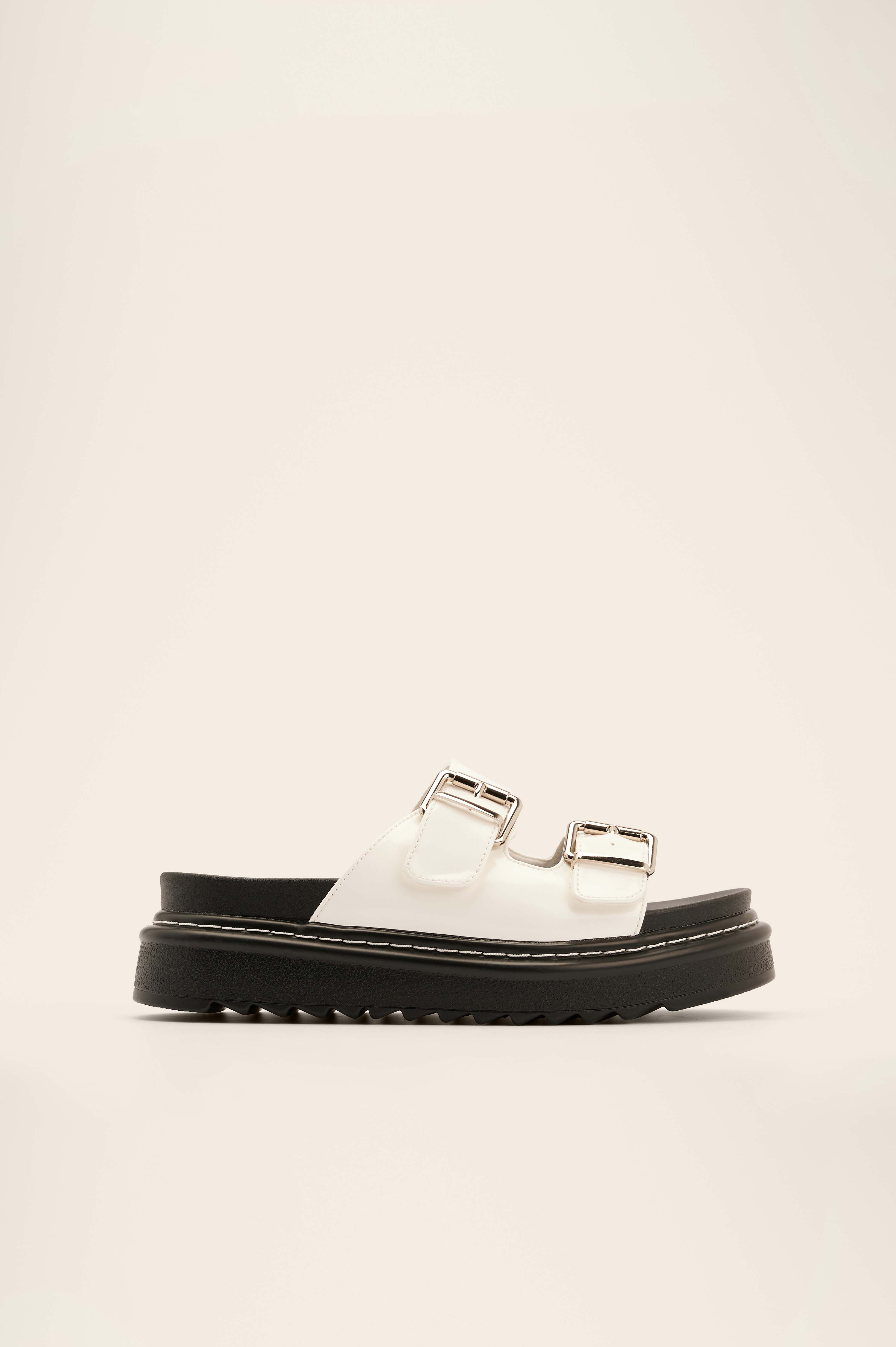 White Profile Buckle Sandals