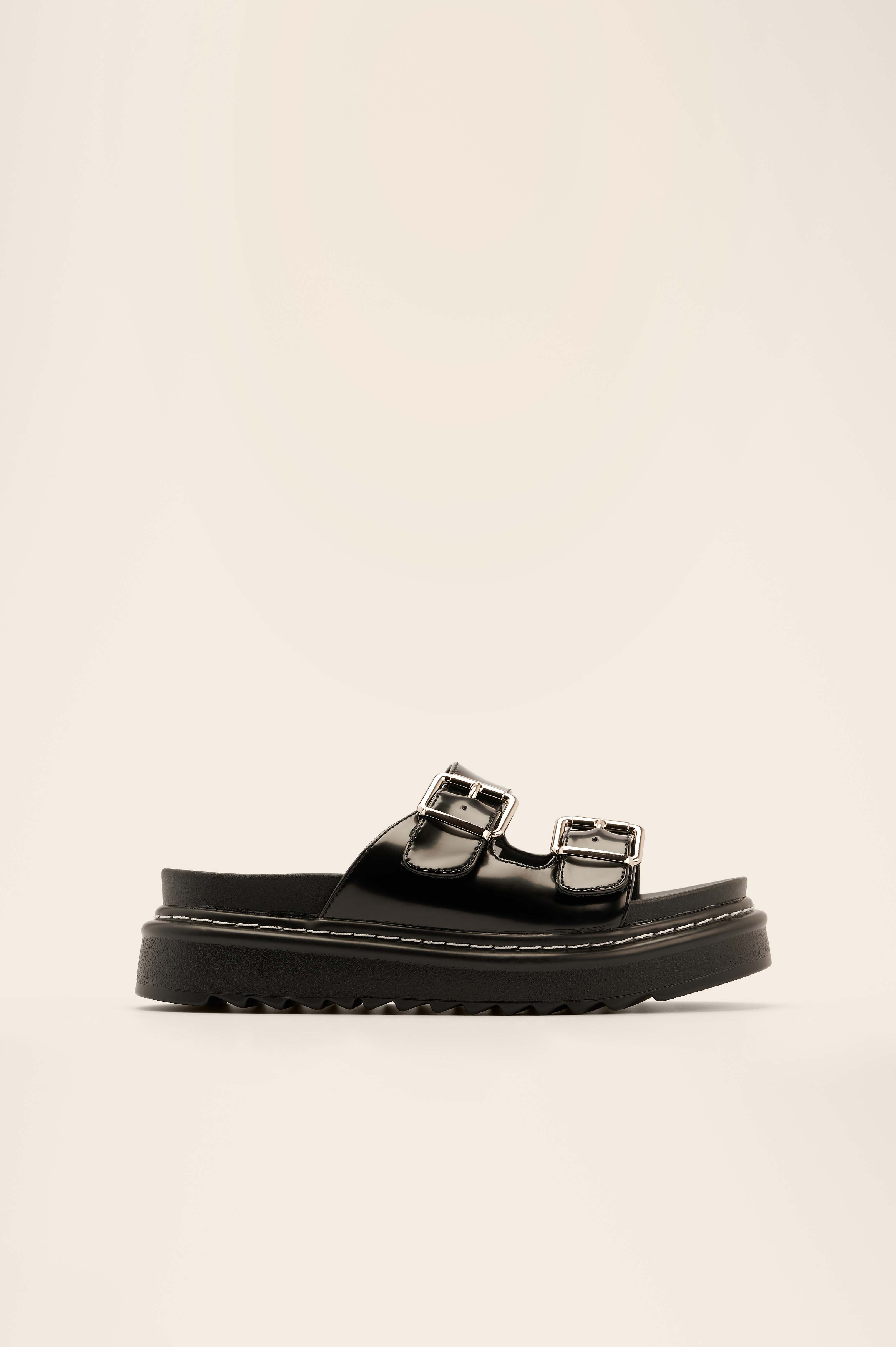 Black Profile Buckle Sandals