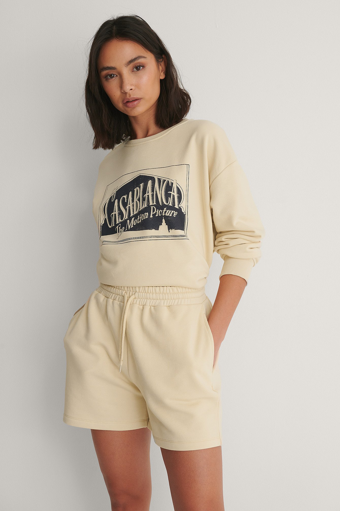 Beige Cool sweat Shorts