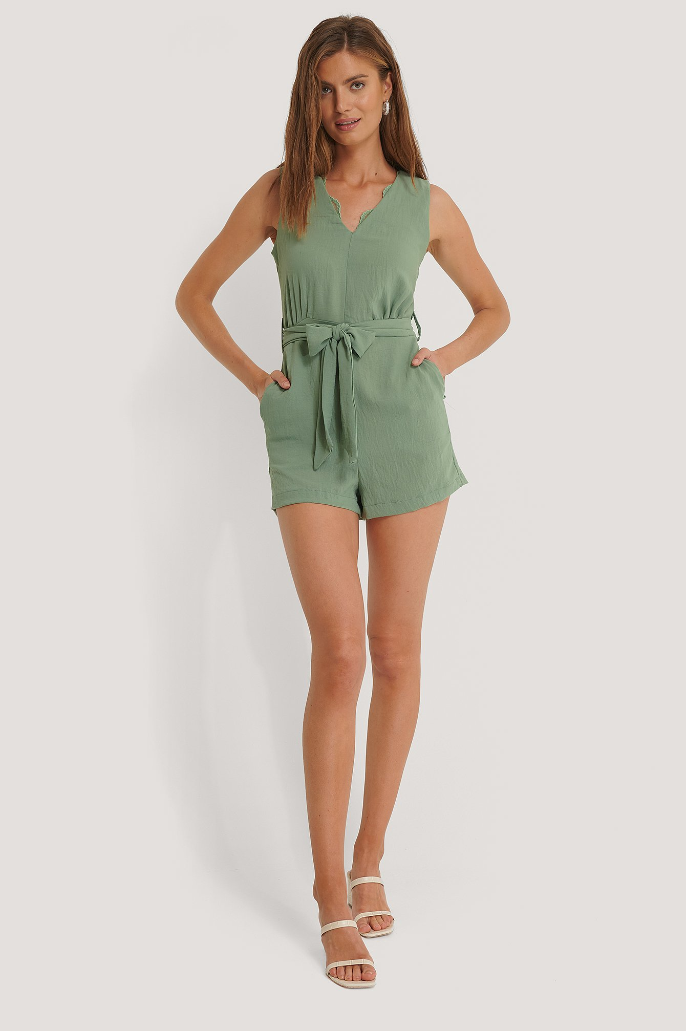 Green Belted Lace Collar Playsuit