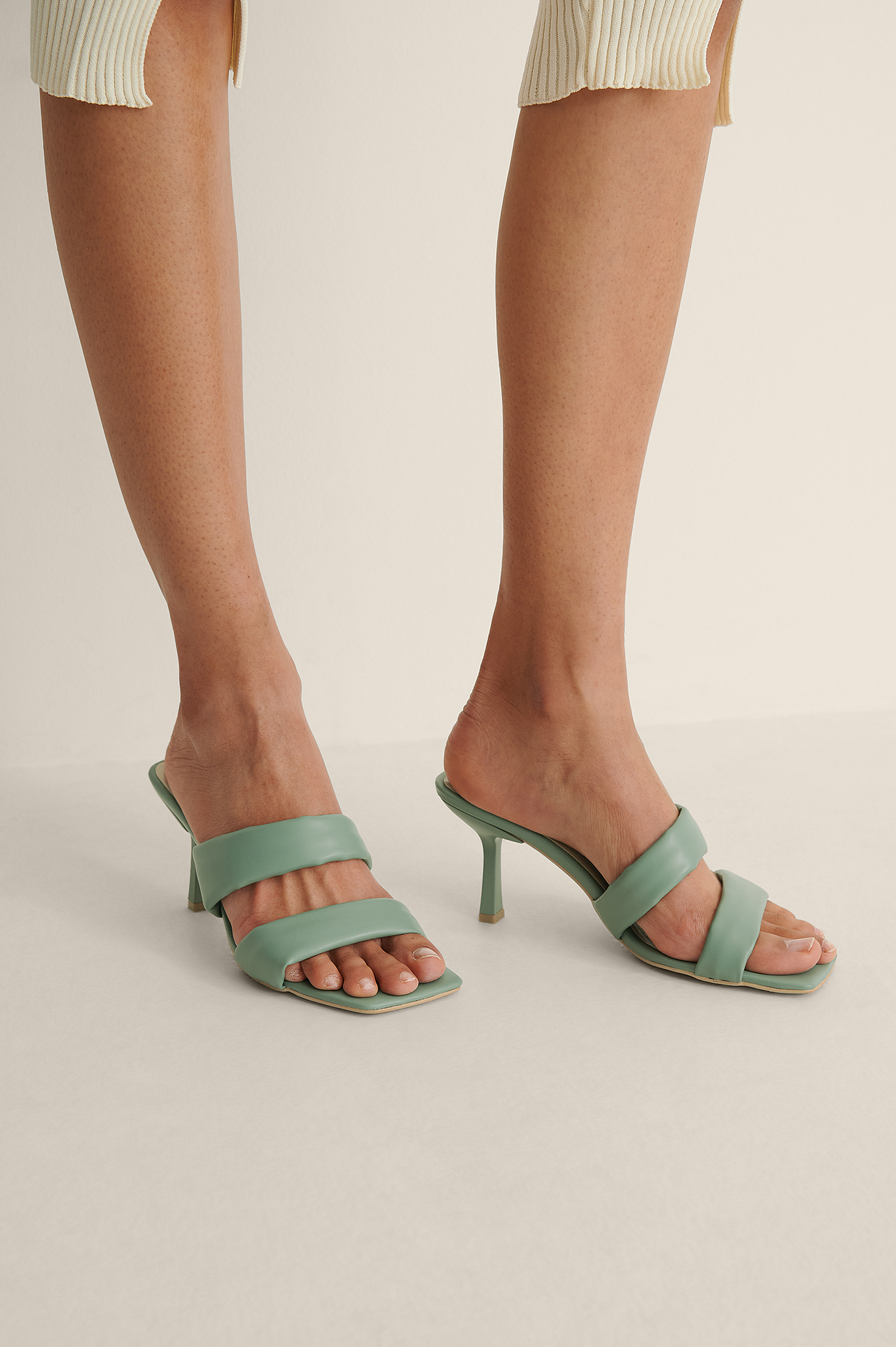 Mint Block Strap High Heels