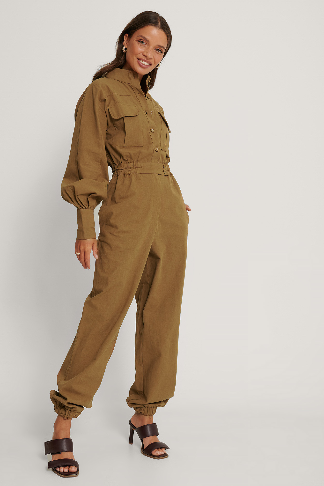 Brown Button Detailed Jumpsuit