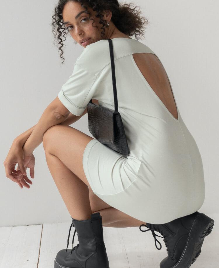 Girl in white dress from leftover fabrics