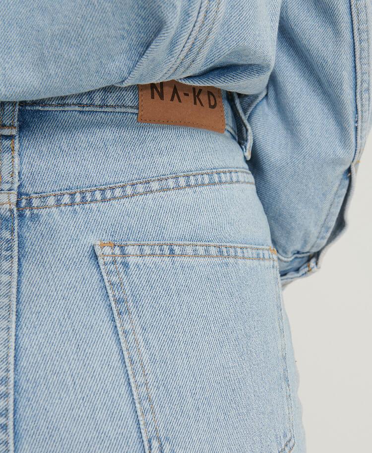 NA‑KD organic straight high waist raw hem jeans