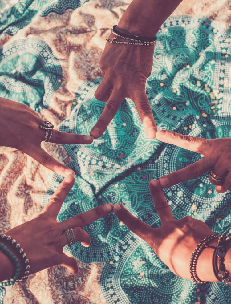 Five hands doing the peace sign in a circle, forming a star with their fingers