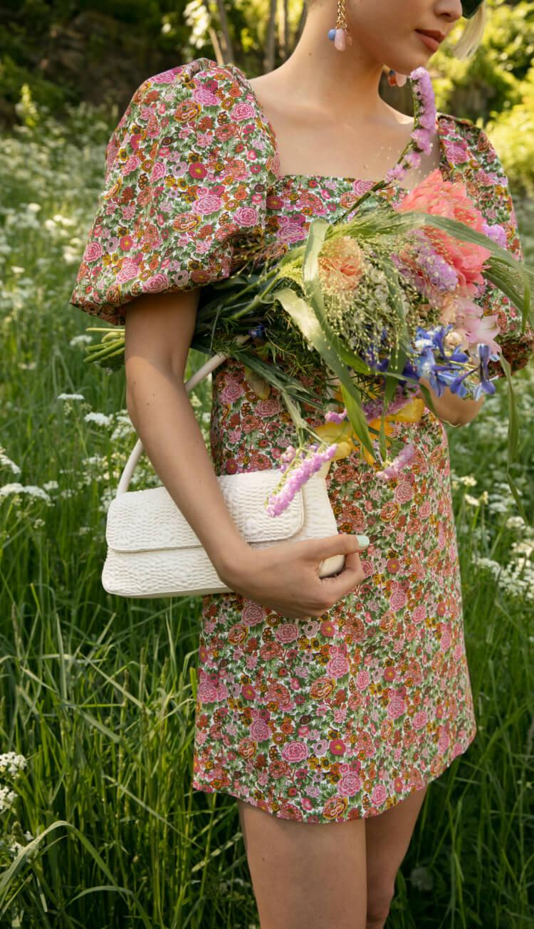 Woman in flowery dress